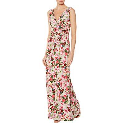Gina Bacconi Faora Floral Print Dress, Beige/Pink
