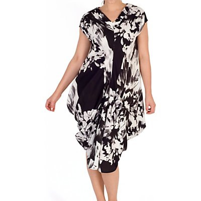 Chesca Floral Drape Dress, Black/White