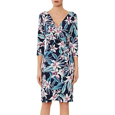 Gina Bacconi Abbie Exotic Print Dress, Navy