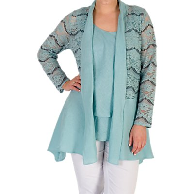 Chesca Linen Trim Jacket, Aqua