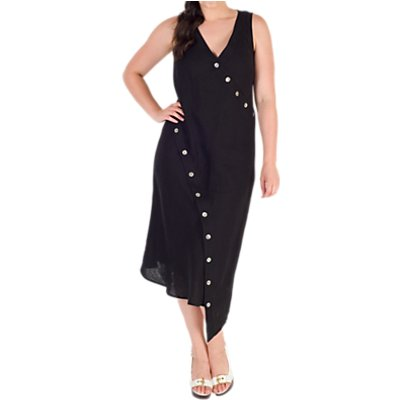Chesca Button Detail Linen Dress, Black