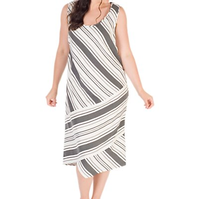 Chesca Diagonal Striped Dress, White/Black
