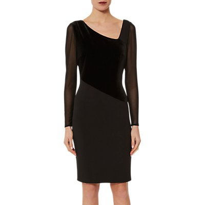 Gina Bacconi Regina Scuba Velvet Mesh Dress, Black