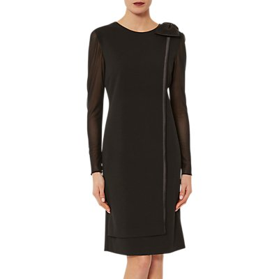 Gina Bacconi Satin Bow Scuba Crepe Dress, Black