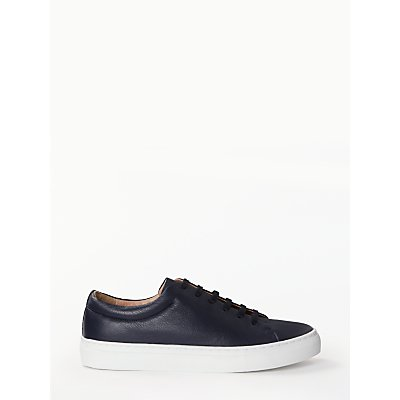 John Lewis & Partners Flora Lace Up Trainers, Navy Leather