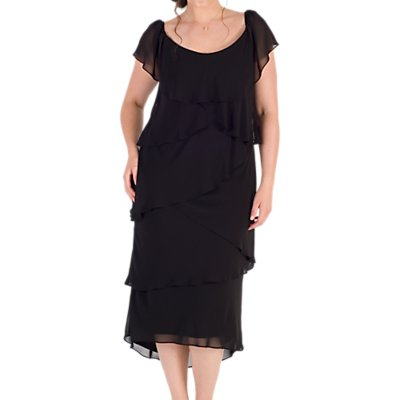 Chesca Chiffon Gypsy Dress, Black