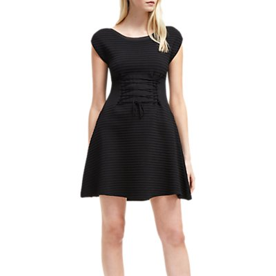 French Connection Crepe Lace Up Dress, Black