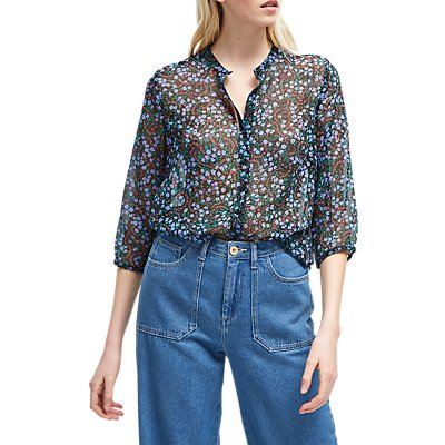 French Connection Collarless Floral Shirt, Black/Tivoli Blue