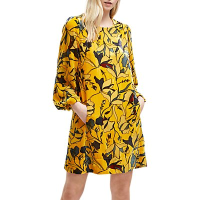French Connection Aventine Velvet Balloon Sleeve Dress, Calluna Yellow Multi