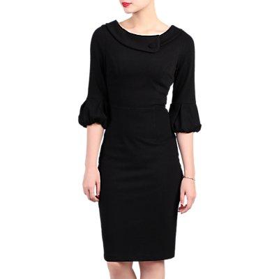 Jolie Moi Retro Bell Sleeve Dress, Black
