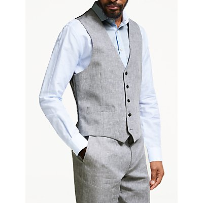 John Lewis & Partners Linen Regular Fit Waistcoat, Silver