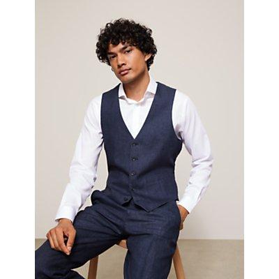 John Lewis & Partners Linen Regular Fit Waistcoat, Navy
