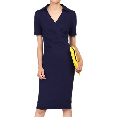 Jolie Moi Retro Cross Front Dress, Navy