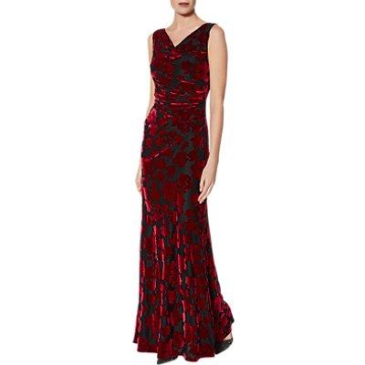 Gina Bacconi Demetria Velvet Maxi Dress, Black/Red