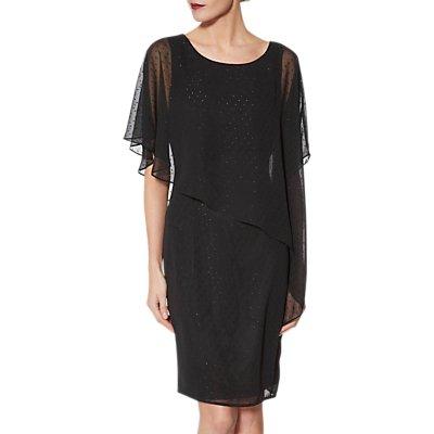 Gina Bacconi Metallic Chiffon Dress, Black