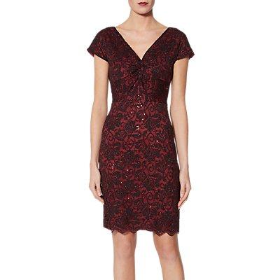 Gina Bacconi Samuella Stretch Lace Dress, Black/Red