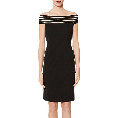 Gina Bacconi Shoulder Drape Dress, Black