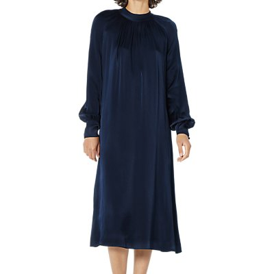 Ghost Ingrid Satin Dress, Navy