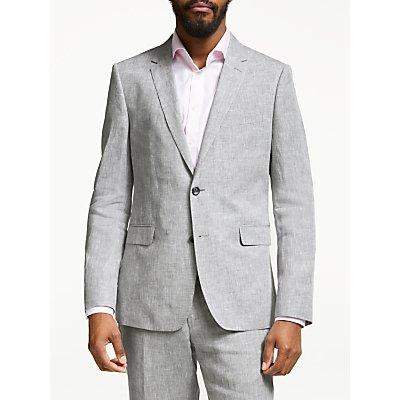 John Lewis & Partners Linen Slim Fit Suit Jacket, Silver