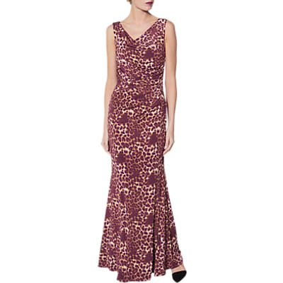 Gina Bacconi Alesana Print Dress, Magenta