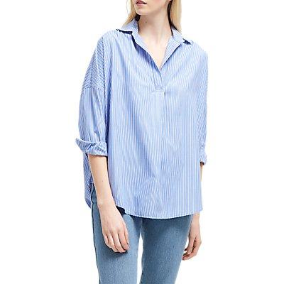 French Connection Bega Dip Hem Shirt, Blue/Multi