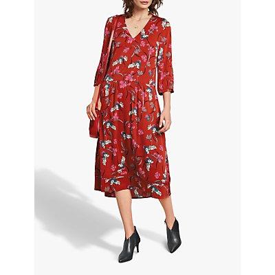 hush Liv Midi Dress, Red Multi