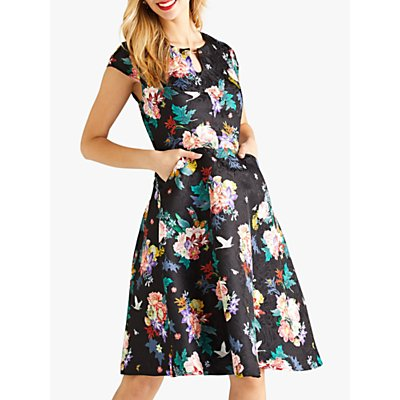Yumi Jacquard Floral Party Dress, Black