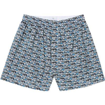 Sunspel Roaring Wheels Woven Cotton Boxers  Blue - 5056088941501