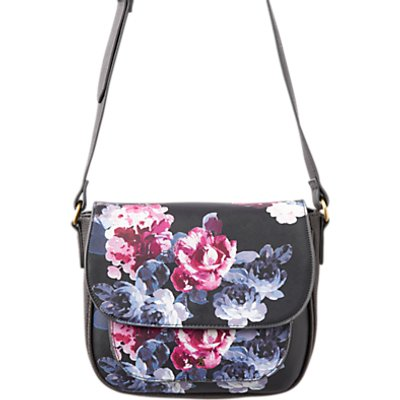 Joules Darby Floral Print Cross Body Bag, Black/Multi