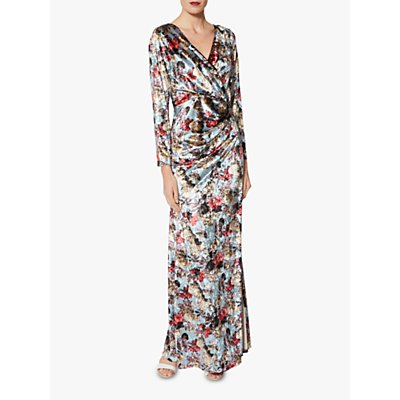 Gina Bacconi Jinx Oriental Velvet Floral Maxi Dress, Iced Blue