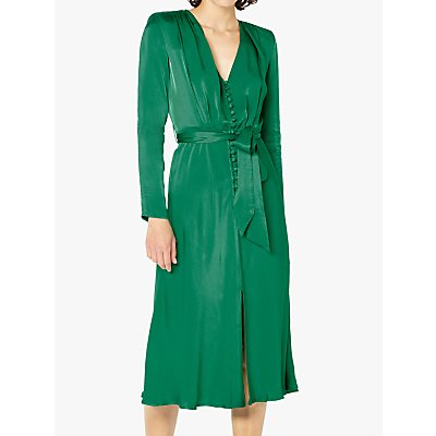 Ghost Meryl Satin Button Dress, Green
