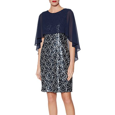Gina Bacconi Sharona Cape Dress, Navy/Silver