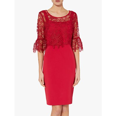 Gina Bacconi Rya Crepe Dress With Lace Overtop