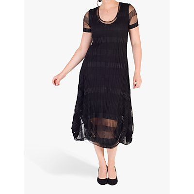 Chesca Sheer & Stripe Crush Pleat Drape Dress