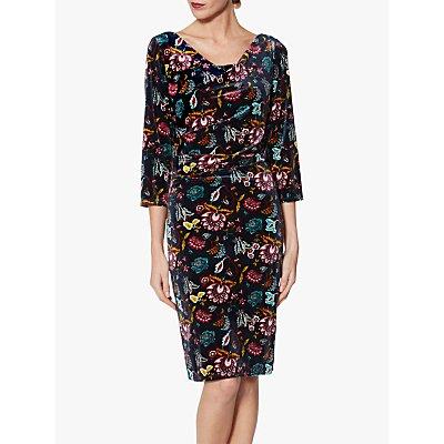 Gina Bacconi Hildie Floral Velvet Dress, Sage Burgundy