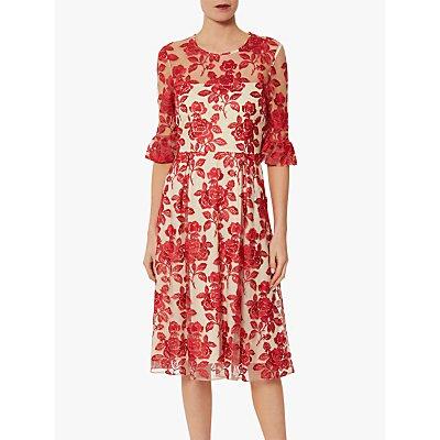 Gina Bacconi Luana Floral Embroidered Dress, Crimson