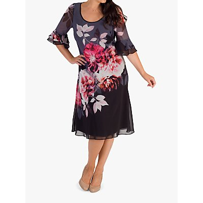 Chesca Flounce Layered Cuff Hyacinth Dress, Hyacinth