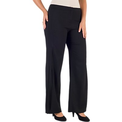 Chesca Wide Leg Pleat Crepe Trousers, Black