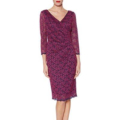 Gina Bacconi Emery Lace Wrap Dress, Fuchsia