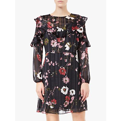 Adrianna Papell Floral Lurex Ruffle Sleeve Dress, Black/Red/Multi