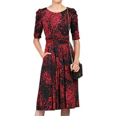 Jolie Moi Half Sleeve Dress, Black Pattern