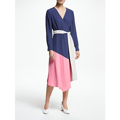 John Lewis & Partners Half Sleeve Colour Block Dress, Multi