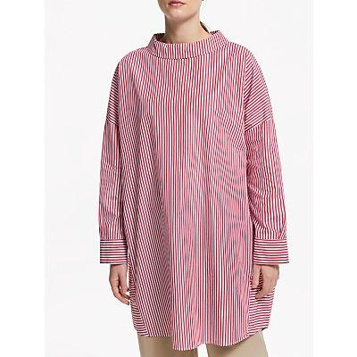 Kin Cotton Poplin Stripe Tunic Top, Red