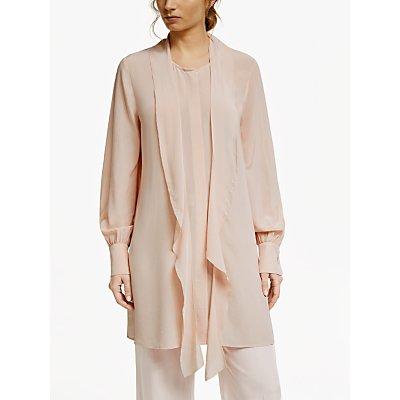 Modern Rarity Silk Blend Ruffle Tunic Top, Pink