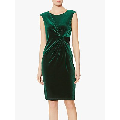 Gina Bacconi Megara Velvet Knot Dress, Dark Green