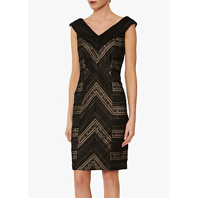 Gina Bacconi Flossie Panelled Lace Dress, Black