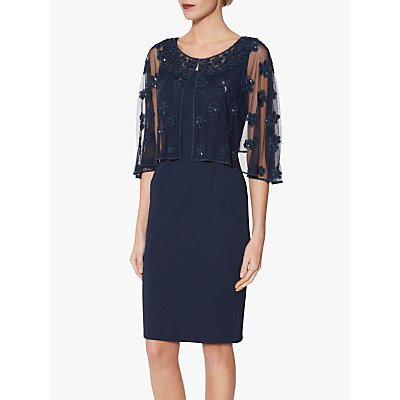 Gina Bacconi Ledora Crepe Cape Dress