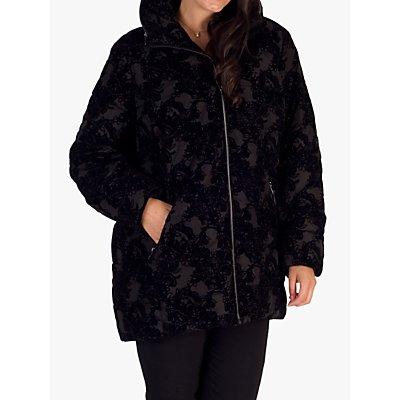 Chesca Flocked Coat, Black