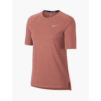 Nike Breathe Tailwind Short Sleeve Running Top, Rust Pink