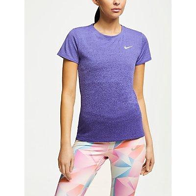 Nike Medalist Short Sleeve Running Top, Rush Violet/Regency Purple